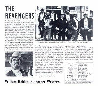 Pp72/8P47 William Holden In The Revengers Article & Picture
