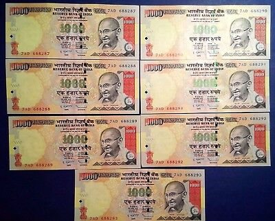 INDIA: 7 x 1,000 Rupee Banknotes - Extremely Fine Condition & Consecutive