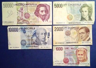 ITALY: Set of 5 Lira Banknotes Very Fine Condition