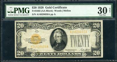 *1928 Gold Certificate $20.00 Super Cool Note Pmg30 (A-A Block) Please Lqqk!!!*