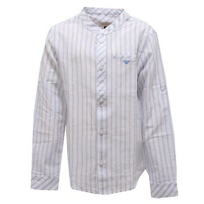 9398T camicia bimno ARMANI JUNIOR blu/bianco shirt cotton blue/white boy