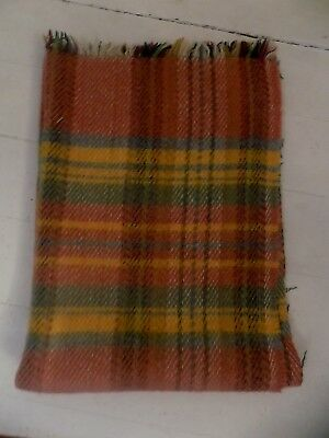 "Tweedmill 100% Wool Blanket Throw British made ochre blue greens tartan 46"" x 32"