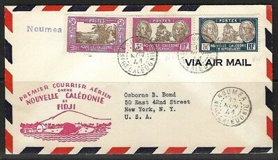 FRANCE 1941 First Mail Flight NEW CALEDONIA - FIJI with Suva arrival