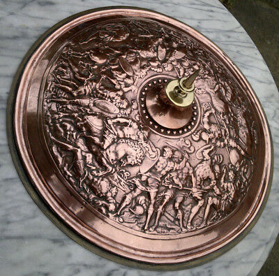 Antique Grand Tour Cast Copper Shield Plaque Trojan Grecian Battle Scene 22""