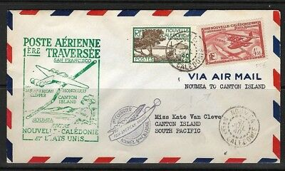 FRANCE 1940 First Mail Flight NEW CALEDONIA - USA with Canton Island arrival