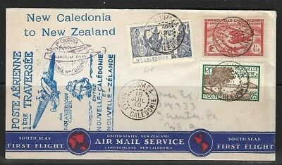 FRANCE 1940 First Flight NEW CALEDONIA - NEW ZEALAND with Aucland arrival