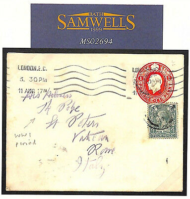 MS2694 1917 GB UNUSUAL FRANKING TO *THE POPE* Uprated Stationery VATICAN WW1 ERA
