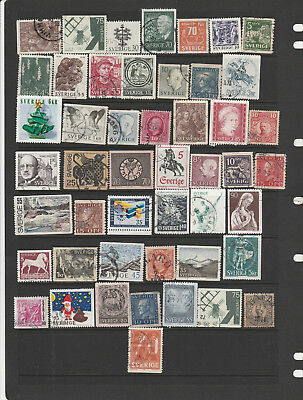 Sweden Mix 45 Stamps, All Different, Used, Lot 1