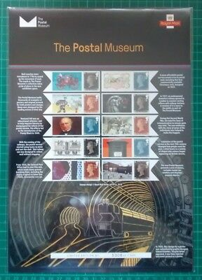 2017 The Postal Museum Royal Mail Commemorative Sheet Penny Red Black 2d Blue