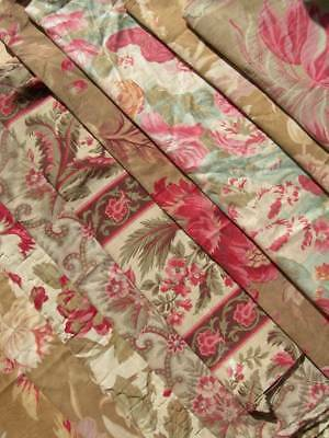 Bundle 12 larger panels antique French 19thC printed cotton cabbage pink roses B