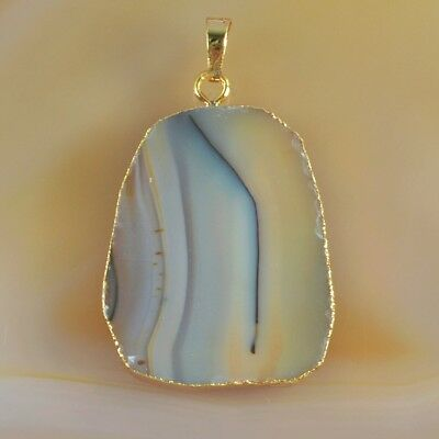 Natural Agate Pendant Bead Gold Plated H103633