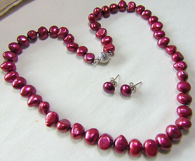 Baroque/nugget Pearl Necklace&earring Set,dyed Cranberry Pink,925 Silver Clas