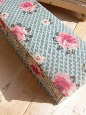 Divine antique vintage 1920s French fabric covered boudoir box - cabbage roses