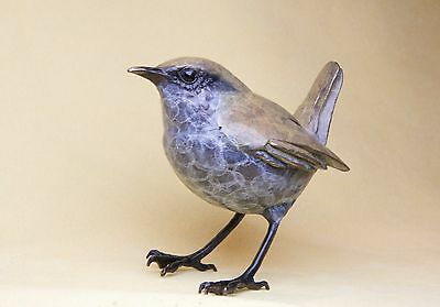 Solid Hot Cast Bronze  -  Life size Wren  - Certificate Authenticity