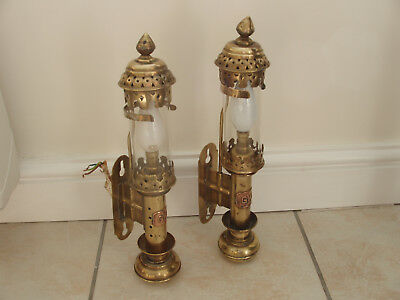 Gwr Vintage  Pair Of Brass Lamps