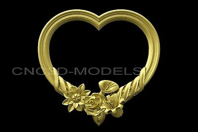 3D Model STL for CNC Router Engraver Carving Artcam Aspire Frame Love Heart v259