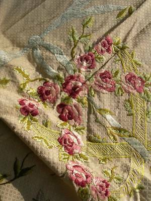 Panel antique French 19thC hand embroidered silk fabric Maison Hamot archive