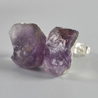 Freeform Rough Natural Amethyst Stud Earrings Silver Plated B049438