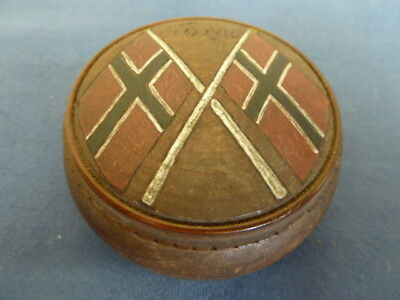 Vintage Norwegian Flags Round Treen Wooden Trinket Box Marked Norge / Bergen