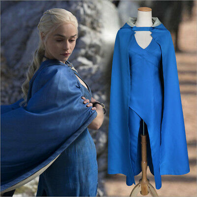 Game of Thrones Khaleesi Daenerys Targaryen Cosplay Costume Adult Dress & Clock
