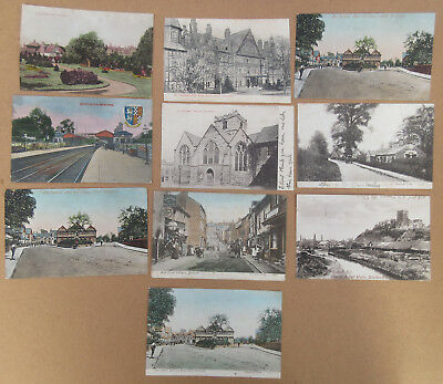 Edwardian postcards x 10 Droitwich Railway station Dodder Hill High street plus
