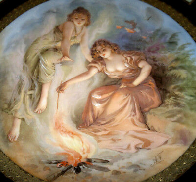 Art Nouveau Royal Vienna Woodland Nymphs Maidens Wall Plate Charger-Signed-13""