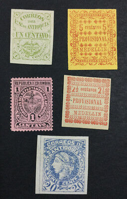 Momen: Colombia #12,71 Unused 43,64,72 Mint Og H Antioquia $24 Lot #6509