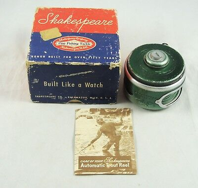 Old Vintage SHAKESPEARE SILENT TRU-ART No. 1837 Automatic Fly Reel + Box + Paper