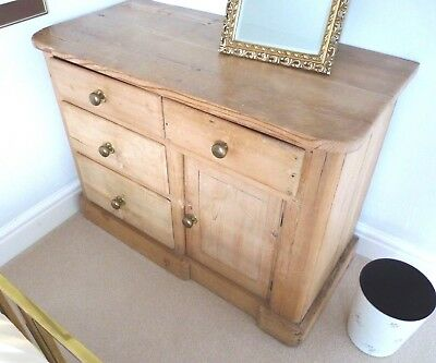 Victorian stripped pine chest of drawers and cupboard