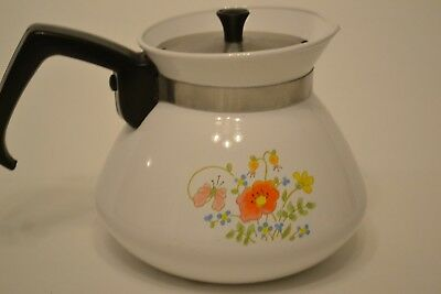 Corning Ware  Tea Pot Wildflower Pattern With Chrome  Lid