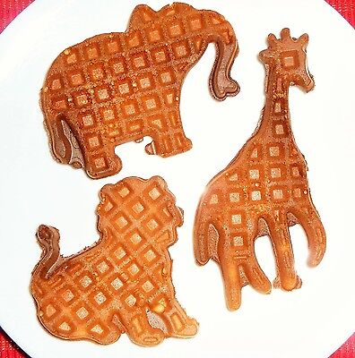 Animal Shapes: Lion Elephant Giraffe Electric Waffle Maker Fun for Kids Children