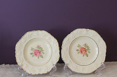 """2 Crown Ducal England 6"""" Bread Plates - Ivory With Pink Rose - Embossed Edge"""