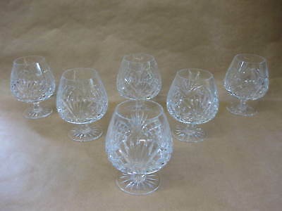 6 Good Quality Heavy Crystal Brandy Glasses / Balloons ~ Cut Glass