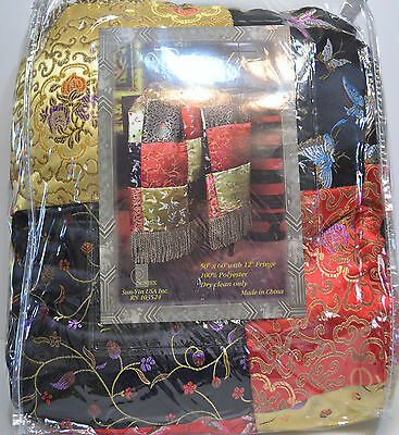 """Dynasty Throw - 50"""" X 60"""" With 12"""" Fringe - Patchwork Pattern"""