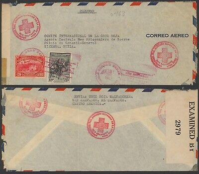 El Salvador WWII 1942 - Red Cross Air mail cover to Switzerland - Censor 24338