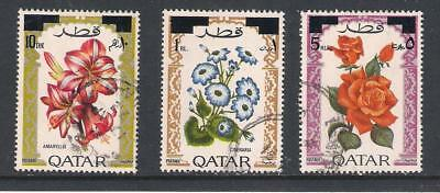 Qatar used stamps - 1972 Flowers, SG399/401, used