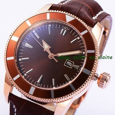 46mm Rosegold PVD Case Mens Automatic Watch Coffee Sterile Dial Brown Straps 02