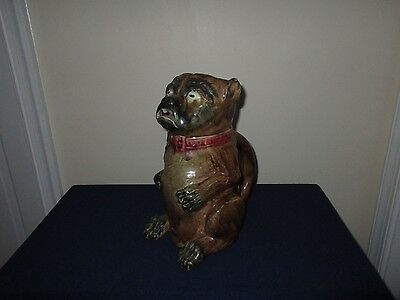 Antique 19th C Staffordshire Majolica Pottery Figural Pug Dog Pitcher 10 3/4""