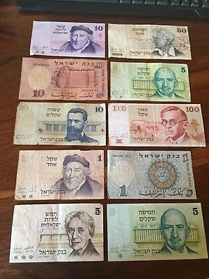 Lot 10 Old Vintage Israel Banknote 1958 1973 1978 1979 Paper Money Israeli