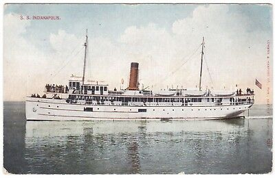 1910 S.s. Indianapolis Steamer Ship Seattle To Tacoma Run Puget Sound Postcard