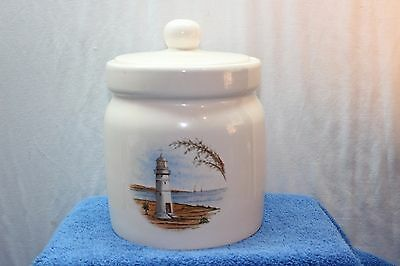 Large Round Lighthouse Ceramic Cookie Jar No Markings Great Condition