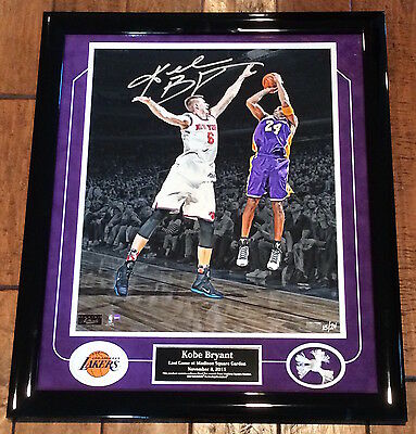 "KOBE BRYANT Autographed ""Last Game at MSG"" Framed Photograph LE 15/24 PANINI"