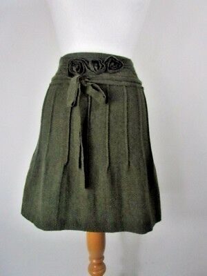 Vintage Philosophy di Alberta Ferretti Pure Wool Green Mini Skirt UK Size 8