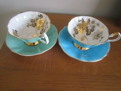 Two Queen Anne Bone China Cabinet Cups And Saucers
