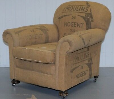 Antique French Gentleman's Club Armchair With Distressed Hessian Upholster