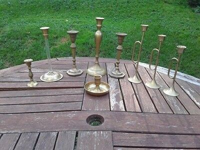 Lot of 9 Vintage Brass Mixed Taper Candle Holders
