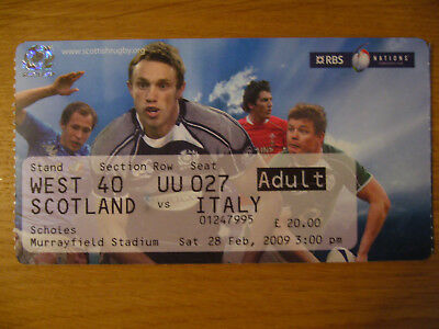 2009 Scotland V Italy Rugby Memorabilia Ticket Stub Murrayfield 6 Six Nations