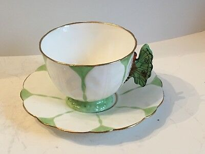 Antique Aynsley Art Deco Butterfly Handle Cup & Saucer made 1920's