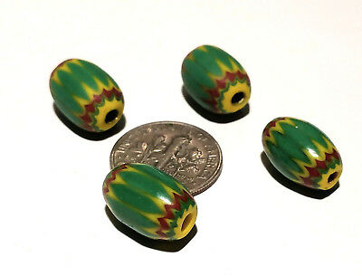 Four Vintage Moretti Venetian Green Yellow 5-Layer Chevron African Trade Beads