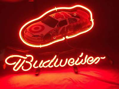 "Budweiser Bud Light Target Ford Mustang Racing Car Nhra Neon Poster Sign 13""x8"""